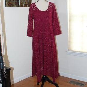 Jessica Simpson,  Maternity lace maroon dress